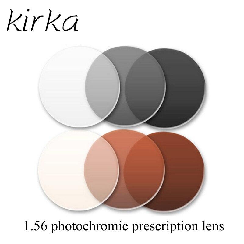 Kirka 1.56 Index Photochromic Prescription Lenses Grey / Brown Color Aspheric Surface Optical Photochromic Lenses High Quality
