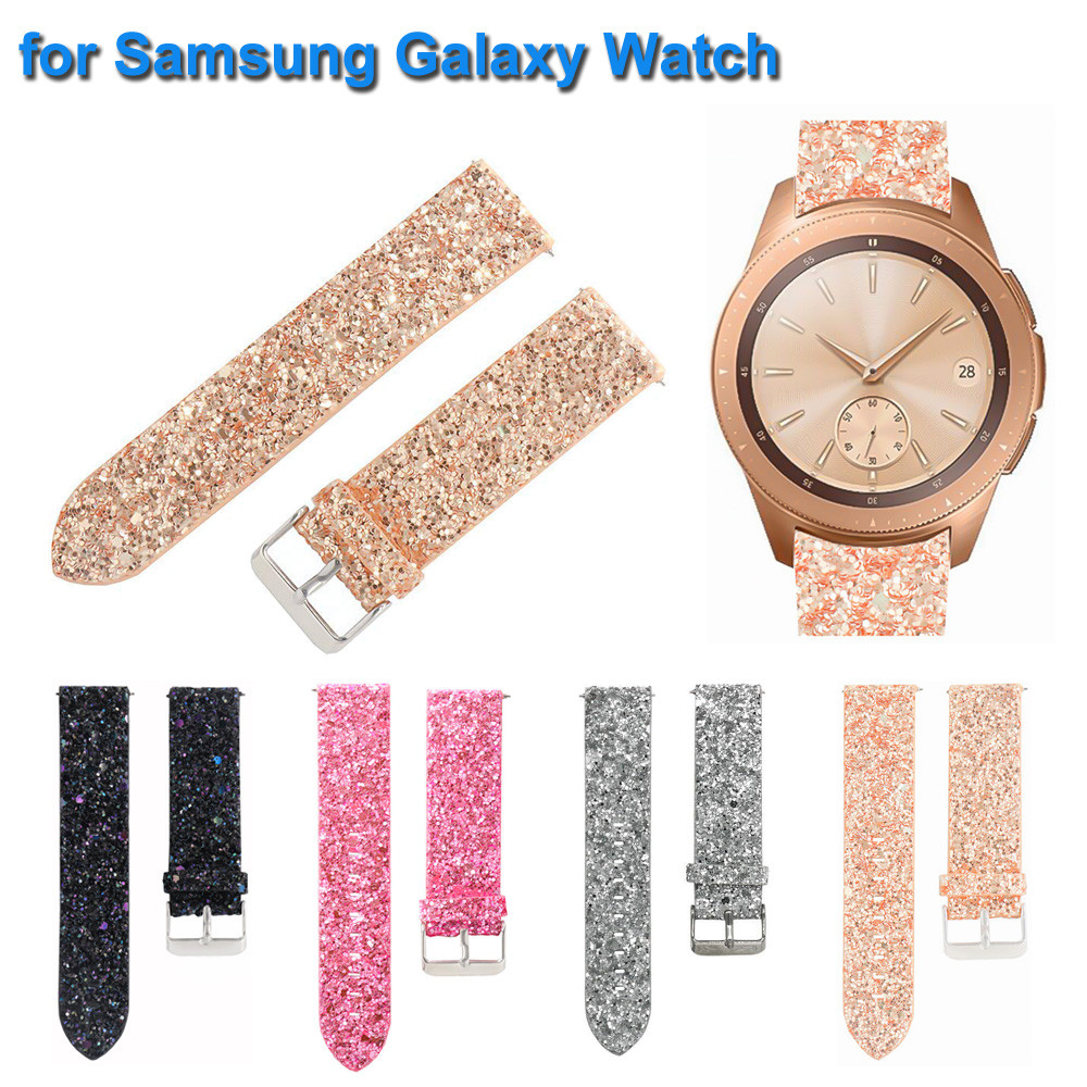 Bling Shiny Luxury Leather Replacement Watch Band For Samsung Galaxy Watch 46 Mm Wristband Bracelet Wrist Strap Smartwatch