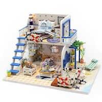 Casa de muñeca miniatura con muebles de bricolaje de madera Miniaturas casa muñecas juguetes de Navidad claro verano M032