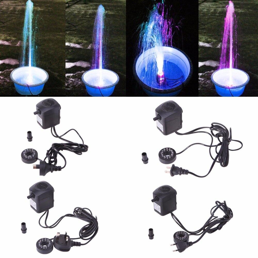 <font><b>LED</b></font> <font><b>Light</b></font> Submersible Water Pump Aquariums Fish Pond Fountain Sump Waterfall 15W US/EU/UK/AU Plug