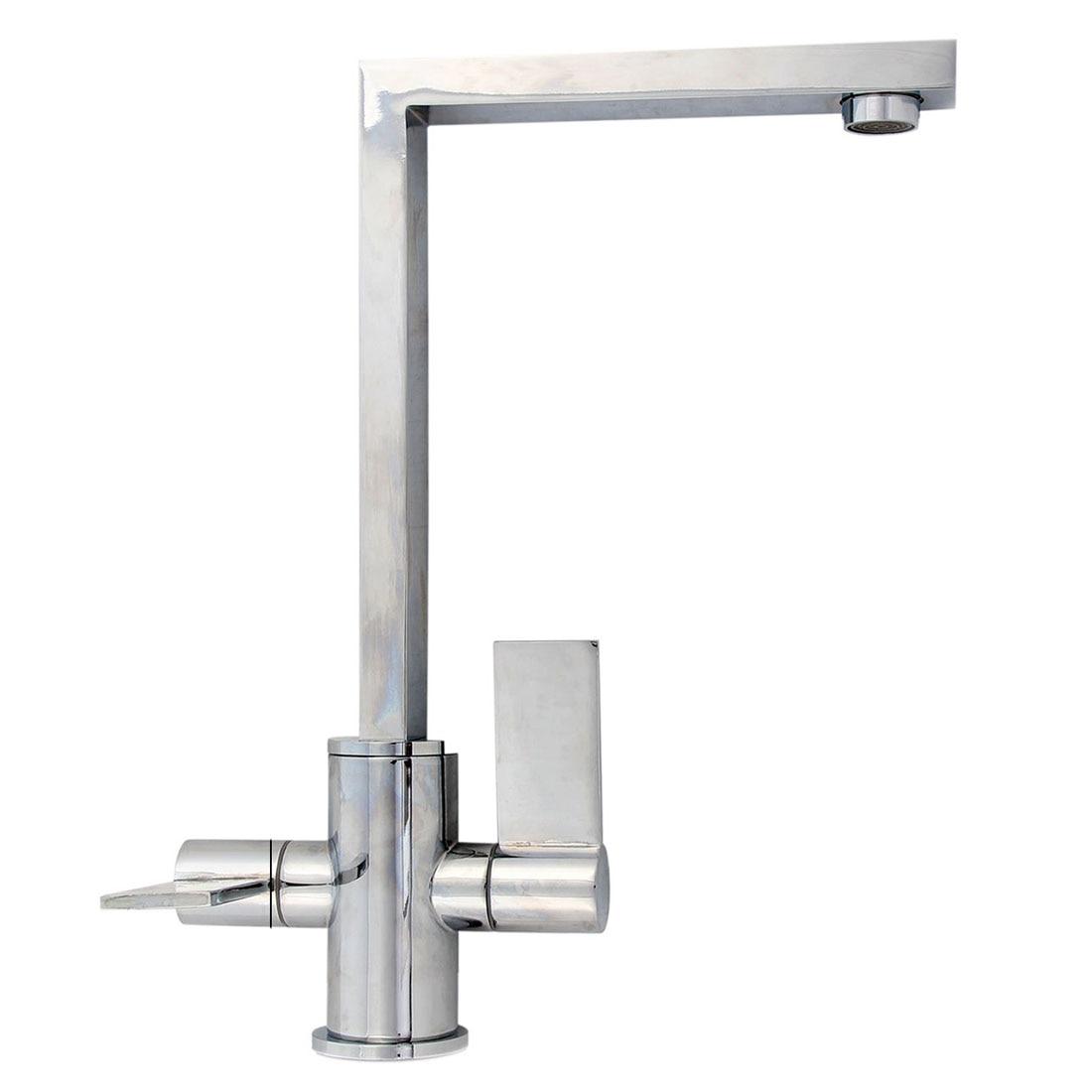 360 Mixer Tap Kitchen Sink Modern Angular Chrome Dual Lever Streamlined NEW
