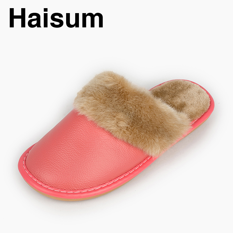 Ladies Slippers Winter genuine Leather Thick With Plush Home Indoor Non-slip Thermal Slippers 2018 New Hot Sale Haisum N-005 men s slippers winter pu leather home indoor non slip thermal slippers 2018 new hot haisum h 8007