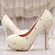 Женщины Свадебные Туфли Свадебные Весна Одиночные Высокие Каблуки Кот Перла Rhinestone Пром Обувь Женская Насосы мать Невесты