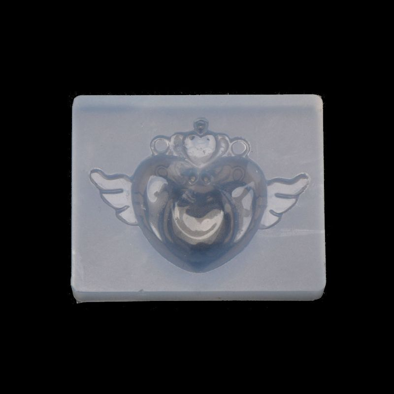 Cute Heart Wing Silicone UV Resin Keychain Pendant Mold Jewelry Making Tools