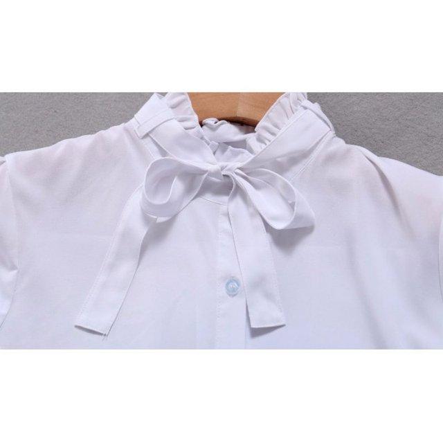 #Korean Style #Women Tie White #Blouse #Ladies Office Work Wear #Shirts #Fashion Long Sleeve #Tops #GRL #BOYGRL 5