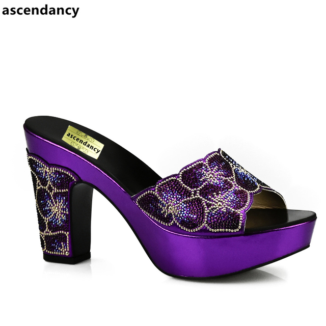 Latest Design Purple Color African Slippers Summer High Heels High Quality  African Low Heels Pumps African