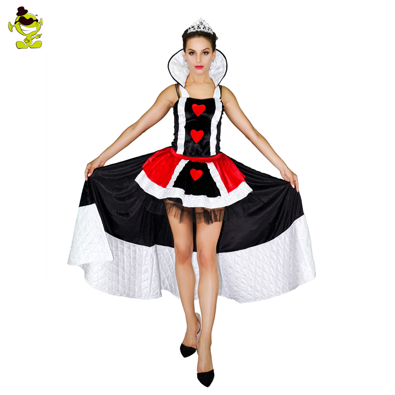 Women's Queen of Hearts Costumes New Halloween Party Costume Summer Girls Fancy Dress For Masquerade Costumes