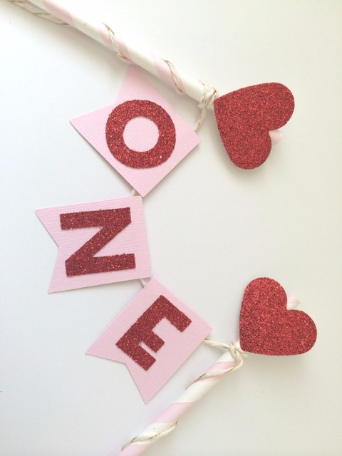 Valentine S Day Cake Topper In Pink And Red Glitter 1st Birthday