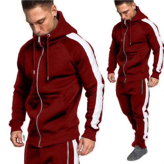 Zogaa Men Joggers Tracksuit Two Piece Hoodies Sweatpants Set Casual Zipper Outwear Sweat Suit 2 Piece Men Outfit Matching Set