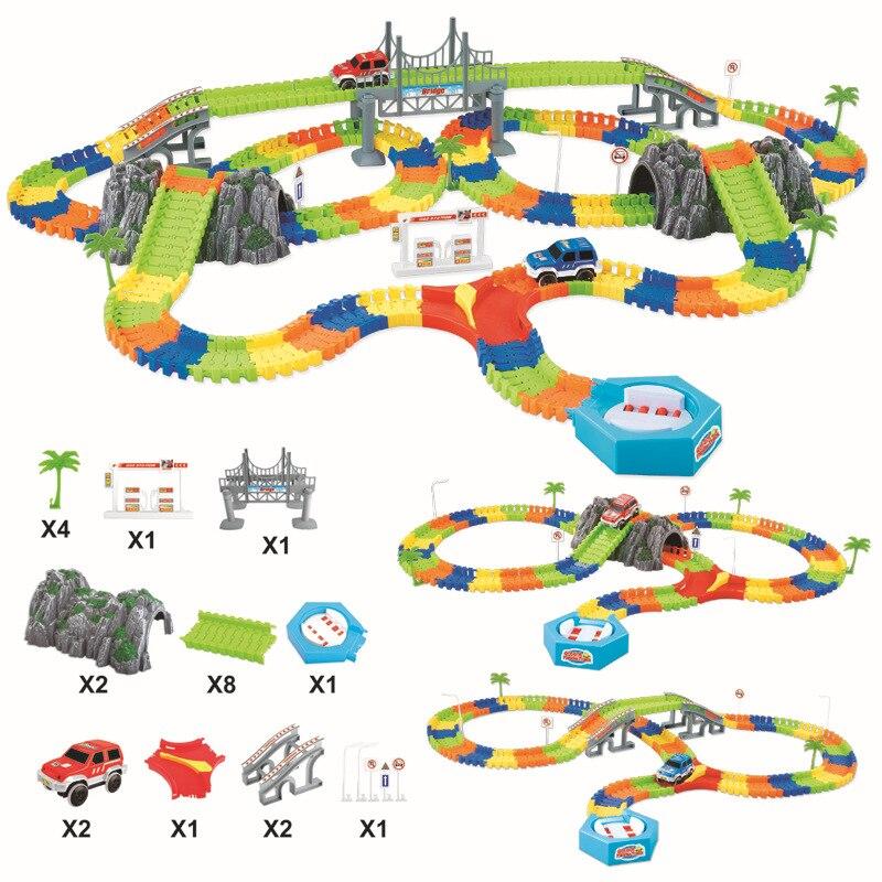 Hot Sale 240pcs Glow Racing Track Set +2pcs Car Flex Flash Assembly Twister Car For Children Gift Track Car Toy Race Track
