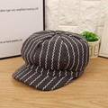Dome Wave Striped Artist Tweed Girl Beret Hat For Women Cap Female Casual Newsboy 003