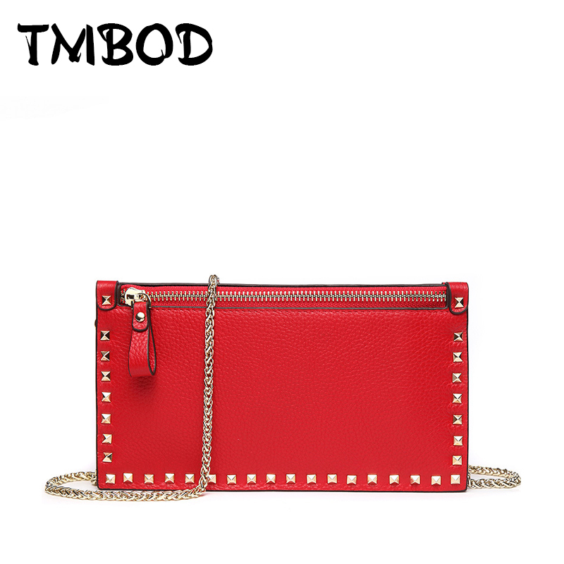 New 2018 Chic Small Flap Clutch with Studs Genuine Leather Handbags Women Classic Lady Bag Messenger Bags For Female an1051 kzni women lock handbags genuine leather cowhide clutch messenger bags female classic flap bag small clutch sac a main 1401