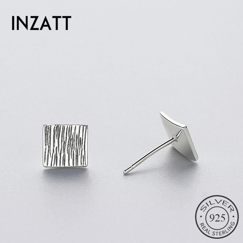 INZATT Punk Petite plaine carré prévenir l'allergie boucles d'oreilles réel 925 en argent Sterling femmes Bijoux fins Tinc Bijoux géométriques