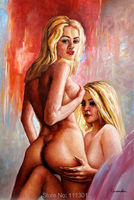 HandPainted Abstract Hot Sexy Gril Nude Sex Glasses Oil Painting On Canvas Home Decoration Modern Wall