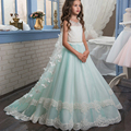 Pageant Dresses for Girl Butterfly O-neck Lace Up Bow Sash Sleeveless Ball Gown Vestidos Longo Custom Made First Communion Gown