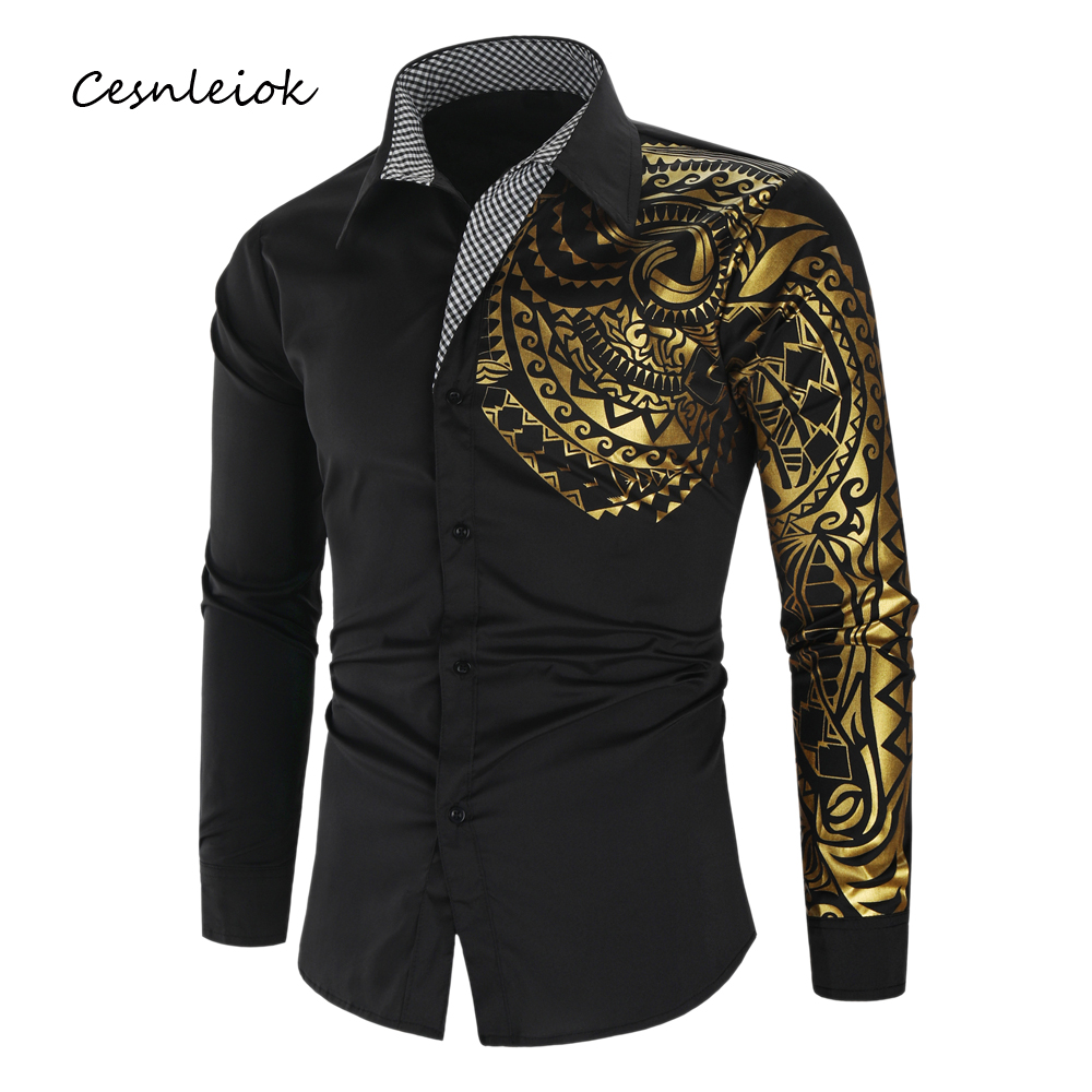 Luxury Gold Black Shirt Men New Slim Fit Long Sleeve Camisa Masculina Gold Black Chemise Homme Social Men Club Prom Shirt(China)