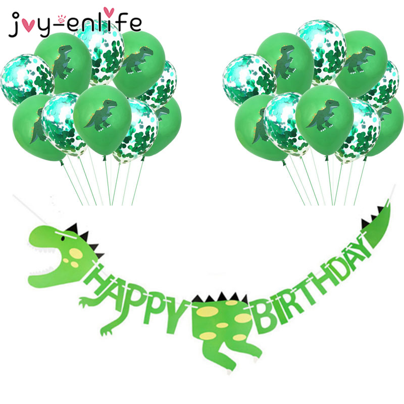 Dinosaur Party Supplies Dinosaur Balloons Paper Garland for Kids Boy Birthday Party Decoration Dinosaur World Jungle Party Decor(China)