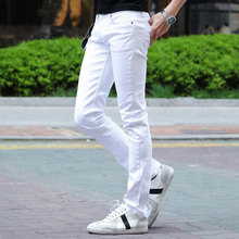 2019 Spring New White Skinny jeans Men's trend Korean version of the Self-cultivation Pencil feet pants Size 27-33 34 36 girls jeans small pants 2018 new children s korean version self cultivation fashion broken holes pencil pants