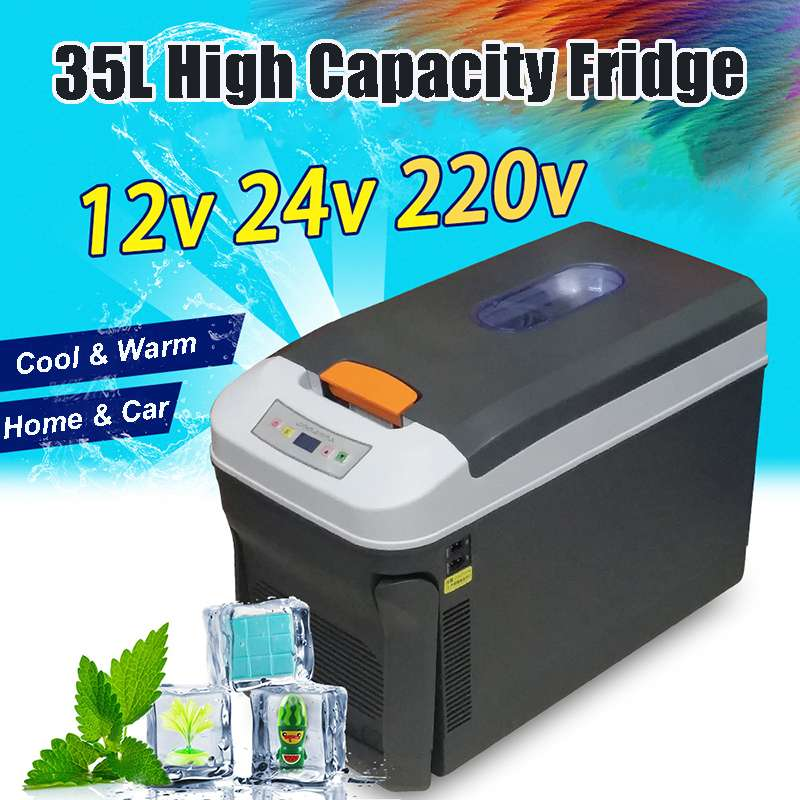 35L Auto Mini Refrigerator Car Home Portable Fridge Travel Essentials Icebox Freezer   Heater Camping Boating Caravan Bar Fridge