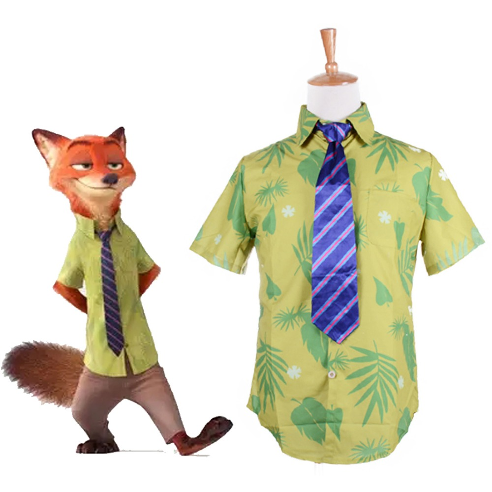 Hot Sale 2016 Cartoon Movie Zootopia Nick Wilde Shirt with Tie Men Adult Short Sleeve Hawaii Style Shirt for Summer Custom Size