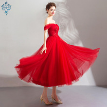 Ameision Red New Ladies Long Evening Dresses 2019 Elegant Boat-Neck Lace Plus Size Formal Gowns A-line Robe De Soiree