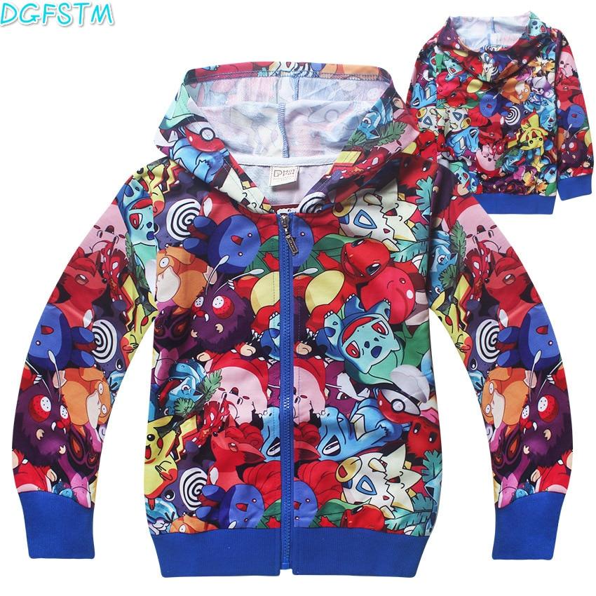 Children boys girls 2017 Spring Autumn zipped Hoodies Sweatshirts Moana coat kids long sleeved T-shirt sweater POKEMEN go