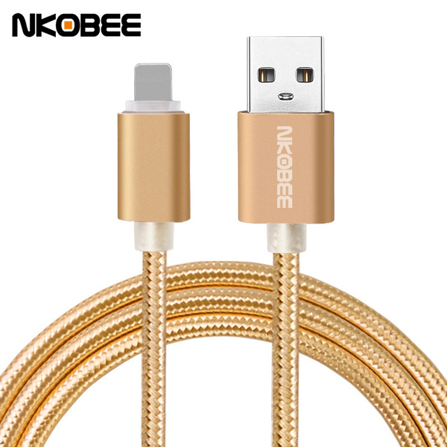 NKOBEE For iPhone 5 5S 6S 6 6 plus 7 7 Plus Charger Braided Mobile Phone Cable Charging USB Cable Charger Data accessories