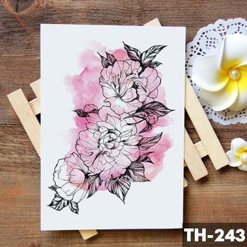 Sketch Flower Blossom Peony Rose Waterproof Temporary Tattoo Sticker Black Tattoos Body Art Arm Hand Girl Women Fake Tatoo 3