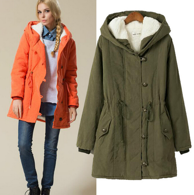 UK 2015 Autumn Winter Parka Women Fur Hooded Down Jacket Thick Warm Coat Mint / Army green Blue Black  Plus size XL-4XL kn 33 women s winter wear stylish thickened warm hooded down jacket coat army green l