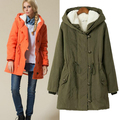 UK 2015 Autumn Winter Parka Women Fur Hooded Down Jacket Thick Warm Coat Mint / Army green Blue Black  Plus size XL-4XL