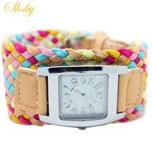 Shsby Чехии multi-Цветные ткачество женский часы кварцевые часы Женщины платье Смотреть Дамы Модные подарки часы-браслет оптовая продажа