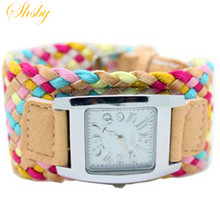 shsby Bohemia multi-colored weaving female watch quartz watch
