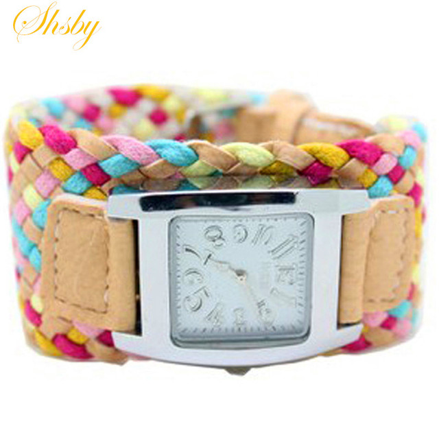 shsby Bohemia multi-colored weaving female watch quartz watch women dress watch