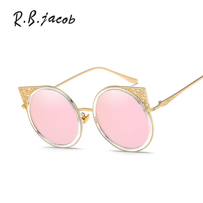 2017 Newest Fashion Cat Eye Women Sunglasses Luxurious Hipster Charm Clear Lady Sun Glasses UV400 Metal Frames High Quality Cool