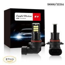 Kongyide luz do carro 2 pçs 9006 hb4 3030 24 smd led rgb farol do carro nevoeiro lâmpada de luz 24w 6000k branco ev11 g0013 ap24