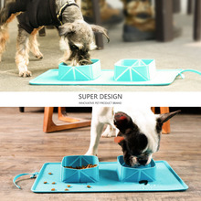 New Collapsible foldable silicone dog bowl  outdoor travel portable puppy doogie food container feeder dish Two Bowls