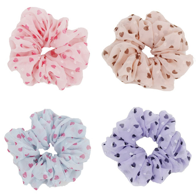 Furling 4PCS Love Heart Solid Color Chiffon Hair Scrunchie Fancy Ponytail  Holder Hair Ties 72d77aab7a0
