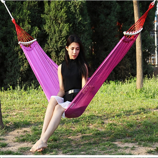 Yingtouman Hammock Canvas Double Outdoor Hammocks Garden Camping Hanging Bed Spreader Bar Sleeping Bag Swing