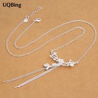 Wholesale 925 Sterling Silver Necklaces Plum Chain Sweater Chain Sterling Silver Necklaces Jewelry Collar Colar De