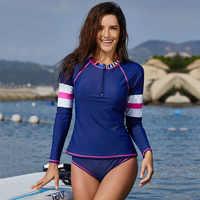 ผู้หญิงแขนยาวซิปเสื้อ Rashguard ชุดว่ายน้ำดอกไม้พิมพ์ชุดว่ายน้ำโต้คลื่นเดินป่าเสื้อ Rash Guard UPF50 +