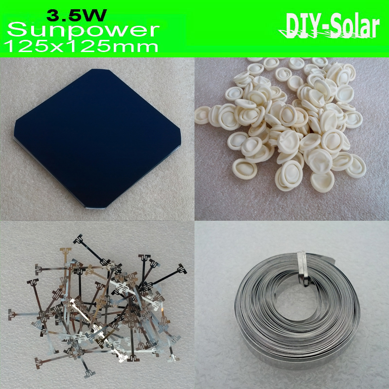 30pcs Sunpower Solar Cells Max 3 5W pc 30pcs Dog bone Connector 2m Busbar Wire 20pcs