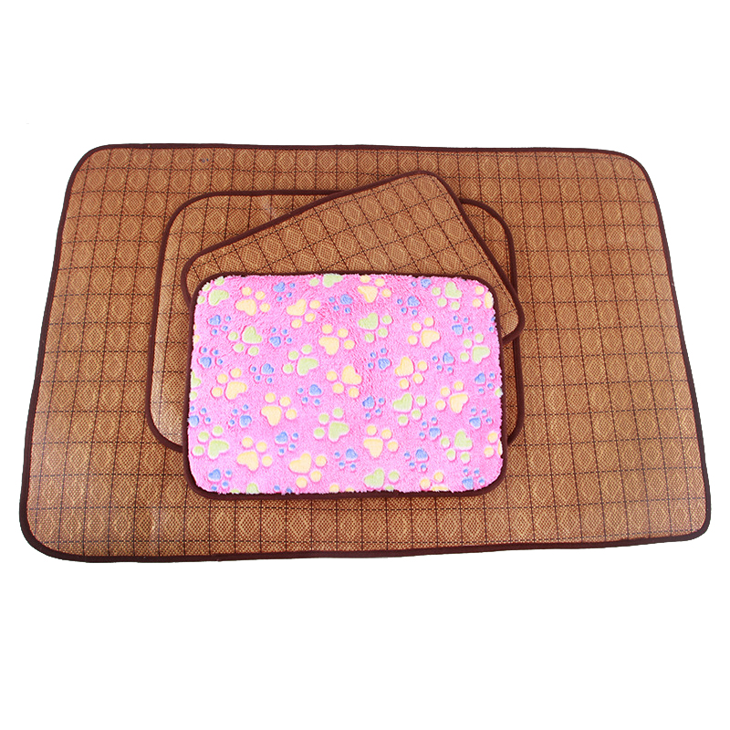 Summer Pet Dog Mat Puppy Cooling 2 in 1 Bamboo Dogs Sleeping Bed Soft Fleece Pad House Blanket for Chihuahua Pet Supplies