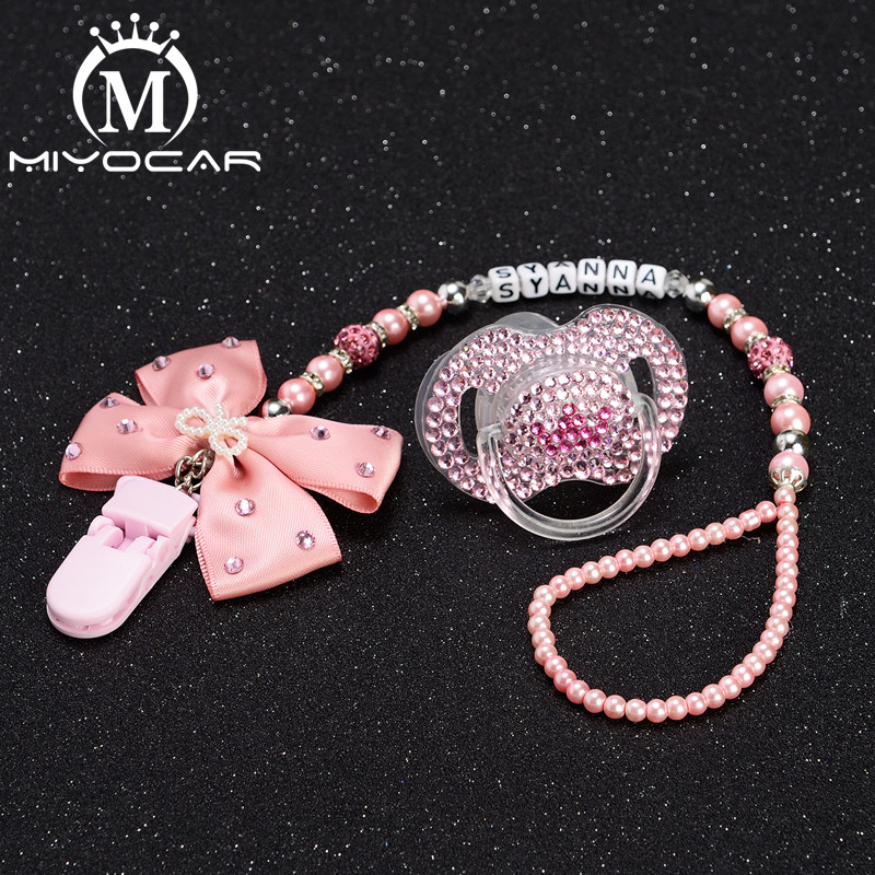 MIYOCAR Custom Name Princess Bling Rhinestone Pacifier Clip Dummy Clip Bling Crown Pacifier/ Nipples /Dummy Pacifier Clip Set