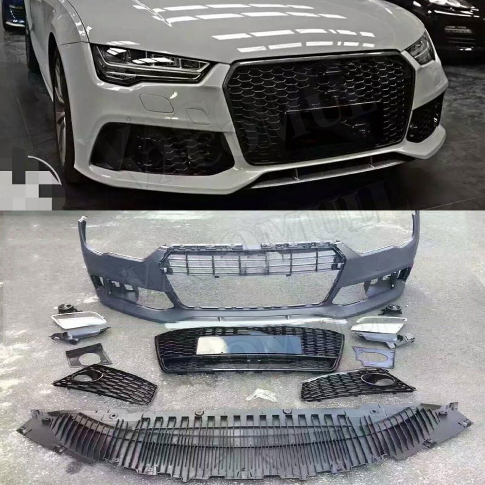 PP car body kit Unpainted Auto Front Bumper rear diffuser side skirts racing grills for Audi A7 RS7 2015 2016 2017 2018 body kits front bumper parts rear diffuser car accessories for ford mustang coupe 2015 2017