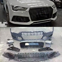 PP car body kit Unpainted Auto Front Bumper rear diffuser side skirts racing grills for Audi A7 RS7 style 2015 2016 2017 2018