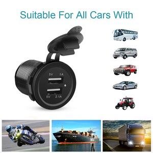 12 В двойной USB порт автомобильное зарядное устройство розетка прикуриватель розетка для Авто Лодка Водонепроницаемый мобильный телефон зарядный адаптер