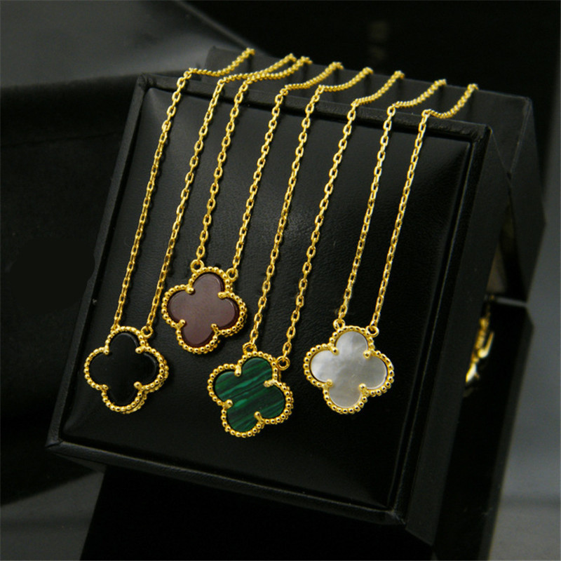 NJ Fashion High Quality Natural Stone White Shell Clover Pendant Temperament Female Necklace