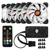 6pcs Computer Case PC Cooling Fan RGB Adjust LED 120mm Quiet IR Remote New Computer Cooler