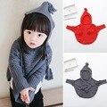 Caliente-venta del otoño niñas niños niño con capucha suéteres de punto lindo bebé cabritos del algodón hilo del cabo capas de ropa para niños suéter