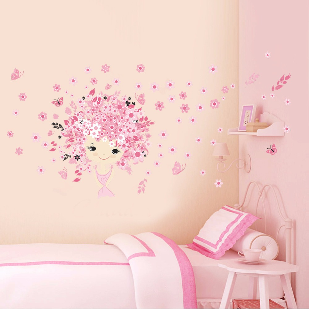 2016 new pink princess castle wall stickers removable pvc for Castle wall mural sticker
